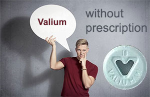 man holding valium without prescription tag