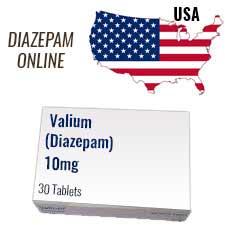 valium 10mg tablet box and USA flag