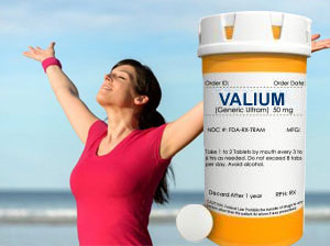 women feeling relaxed with valium pill